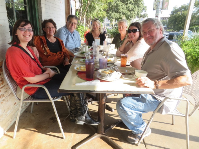 Breakfast in Austin with friends.  I could even hear the young lady at the other end of the table.